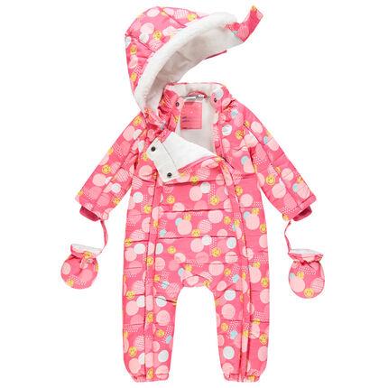 Combinaison de ski doublée micropolaire imprimée Smiley Baby all-over 3 mois rose foncé