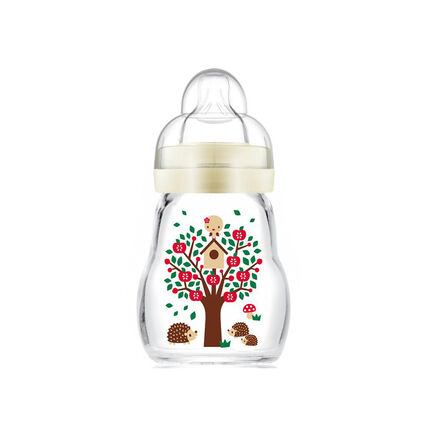 Biberon en verre tétine débit 1 0-6 mois 170 ml – Blanc