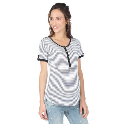 Tee-shirt manches courtes de grossesse et d'allaitement avec rayures all-over xs ecru