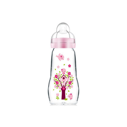 Biberon en verre tétine débit 2 0-6 mois 260 ml – Rose