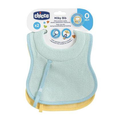 Lots 2 bavoirs d'allaitement et de succion en coton – Bleu/jaune jaune/bleu