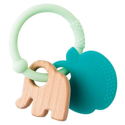 Anneau de dentition en silicone/bois - Eléphant/Pomme vert