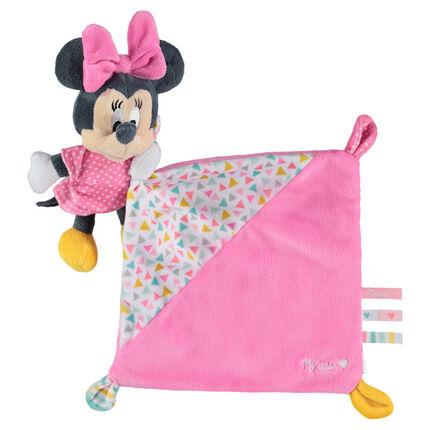 Doudou Disney avec peluche Minnie cousue rose
