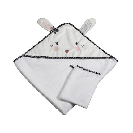 Cape de bain + gant - Miss Fleur de Lune blanc/rose