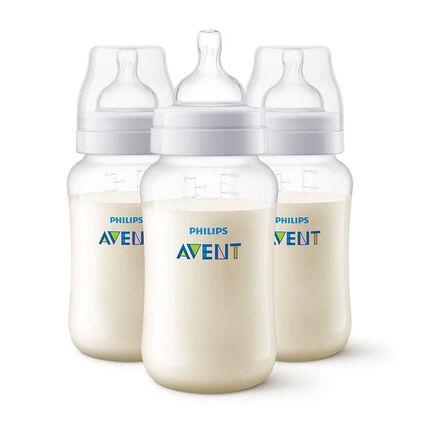 Lot de 3 biberons Anti-colic SCF816/37 330 ml transparent