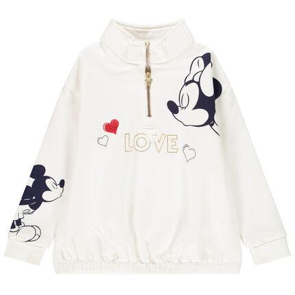 Sweat en molleton print Mickey Minnie Disney pour enfant fille 4 ans ecru