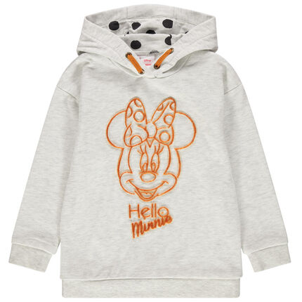 Sweat en molleton à capuche print Minnie Disney 3 ans beige moyen