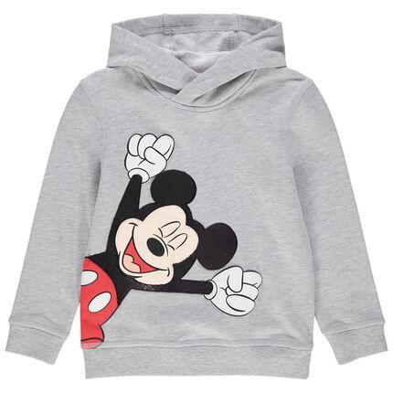 Sweat à capuche en molleton print Mickey Disney en sequins 4 ans gris moyen