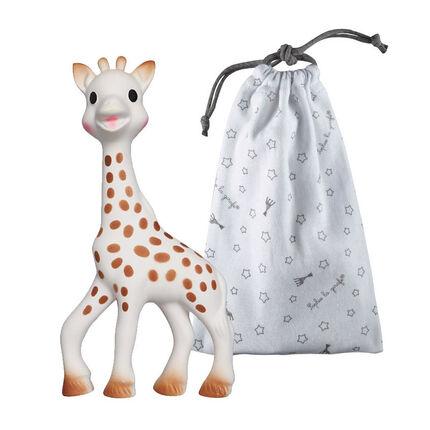 Hochet Sophie la Girafe avec son sac de rangement blanc