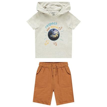 Ensemble t-shirt print planète et bermuda 3 ans beige moyen