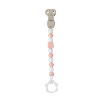 Attache-sucette avec clip ajustable Lapidou – Rose clair/blanc
