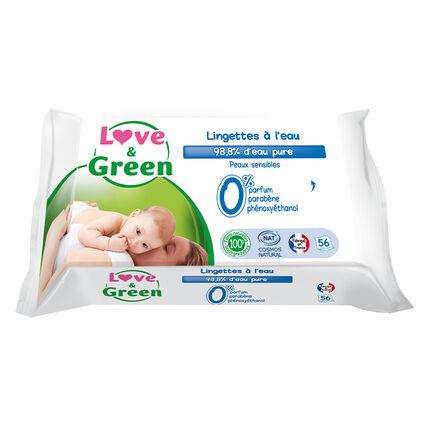 Lingettes Bébé hypoallergéniques à l'eau x56 blanc