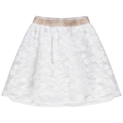 Jupe de cérémonie en tulle à broderies et taille élastiquée brillante 3 ans blanc