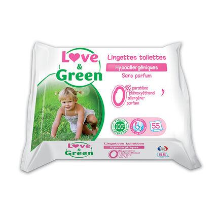 Lingettes Toilettes Hypoallergéniques x55 sans parfum blanc