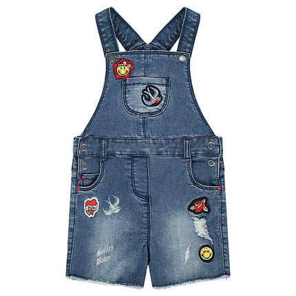 Salopette short en jeans used avec badges patchés Smiley Baby 6 mois bleu moyen