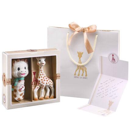 Coffret de naissance Sophie la Girafe avec hochet ecru