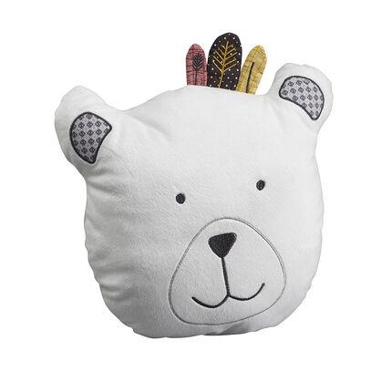 Coussin décoratif tête d'ours - Timouki blanc