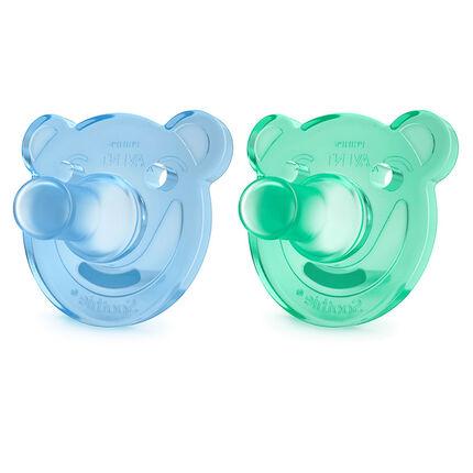 Lot de 2 Sucettes Orthodontiques Silicone Soothie 0-3 Mois - Couleur Bleu et Vert