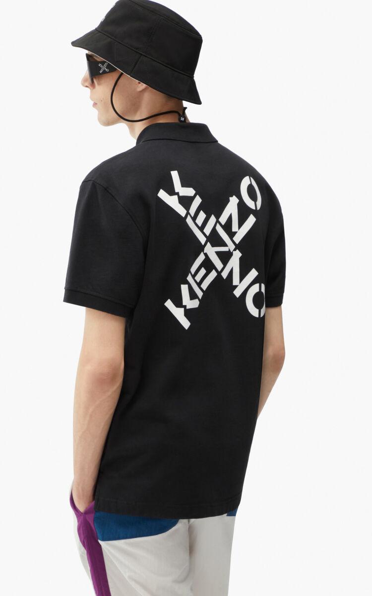 BLACK KENZO Sport polo shirt for men