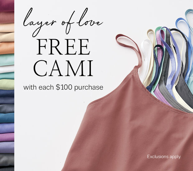 Free Essential Cami with purchase of $100