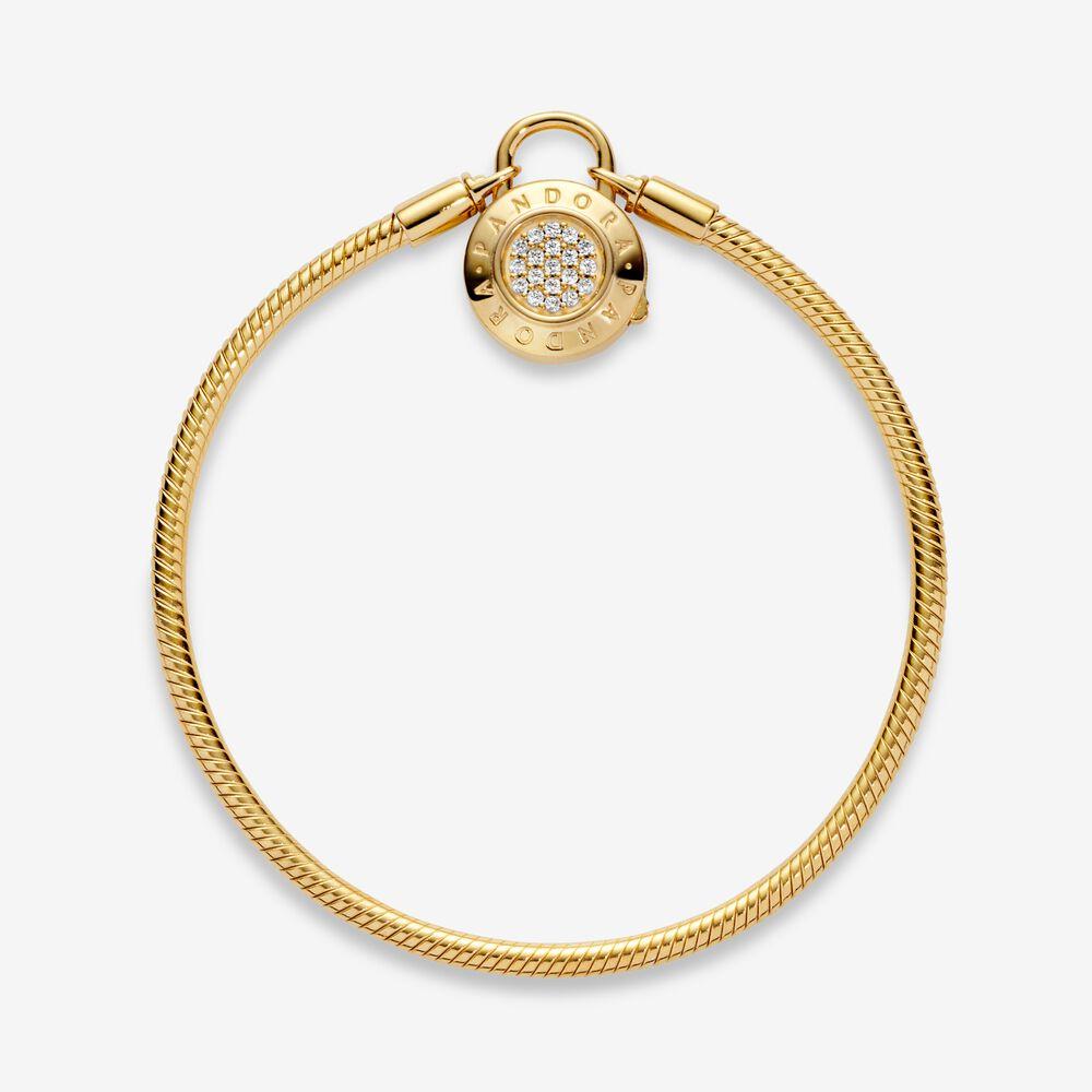 Pandora Moments Pavé Padlock Clasp Snake Chain Bracelet | Gold ...