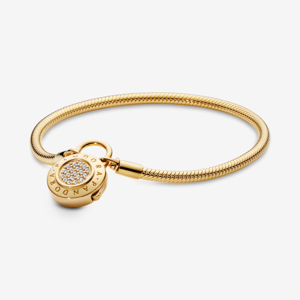 Pandora Moments Pavé Padlock Clasp Snake Chain Bracelet   Gold ...