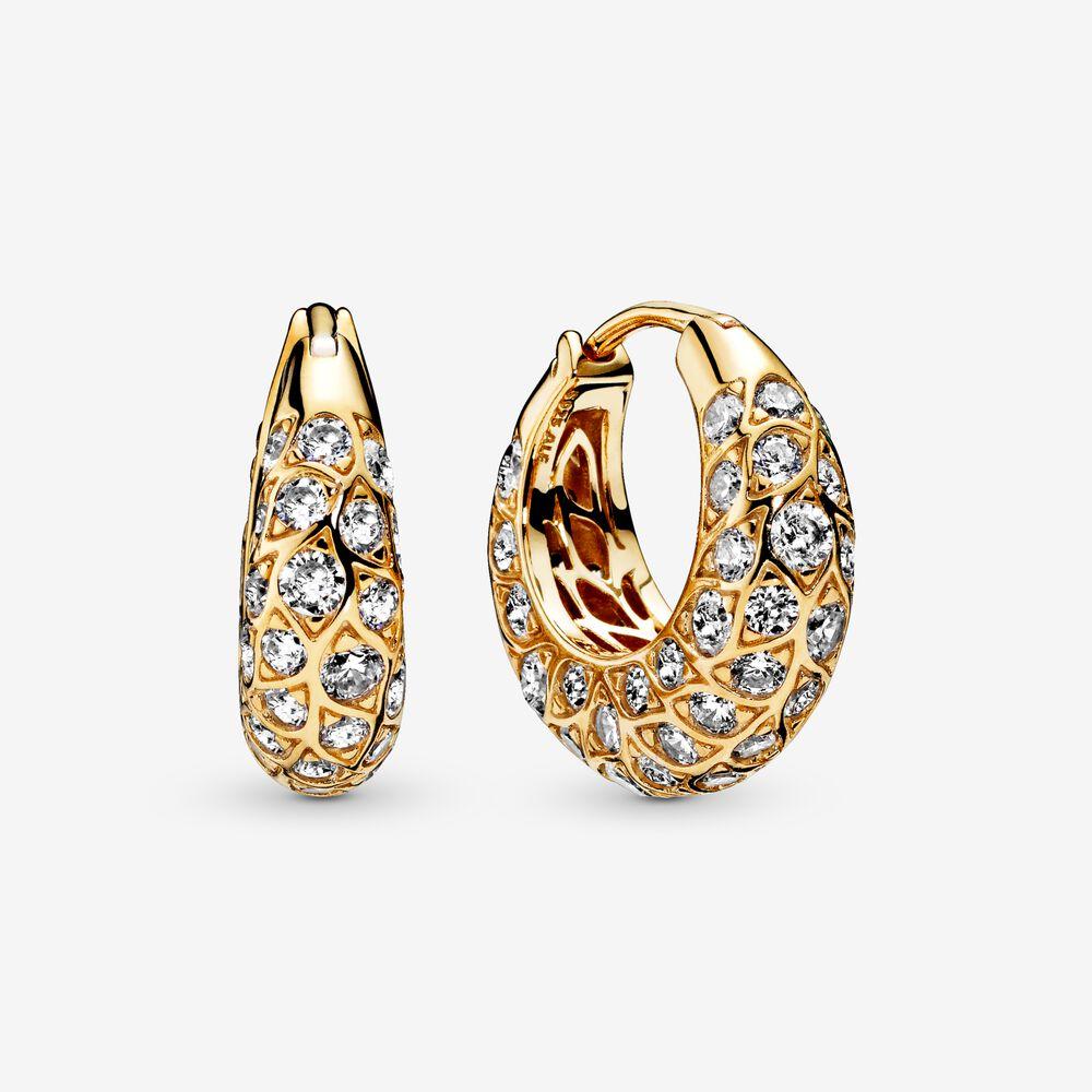Sparkling Pattern Hoop Earrings Gold