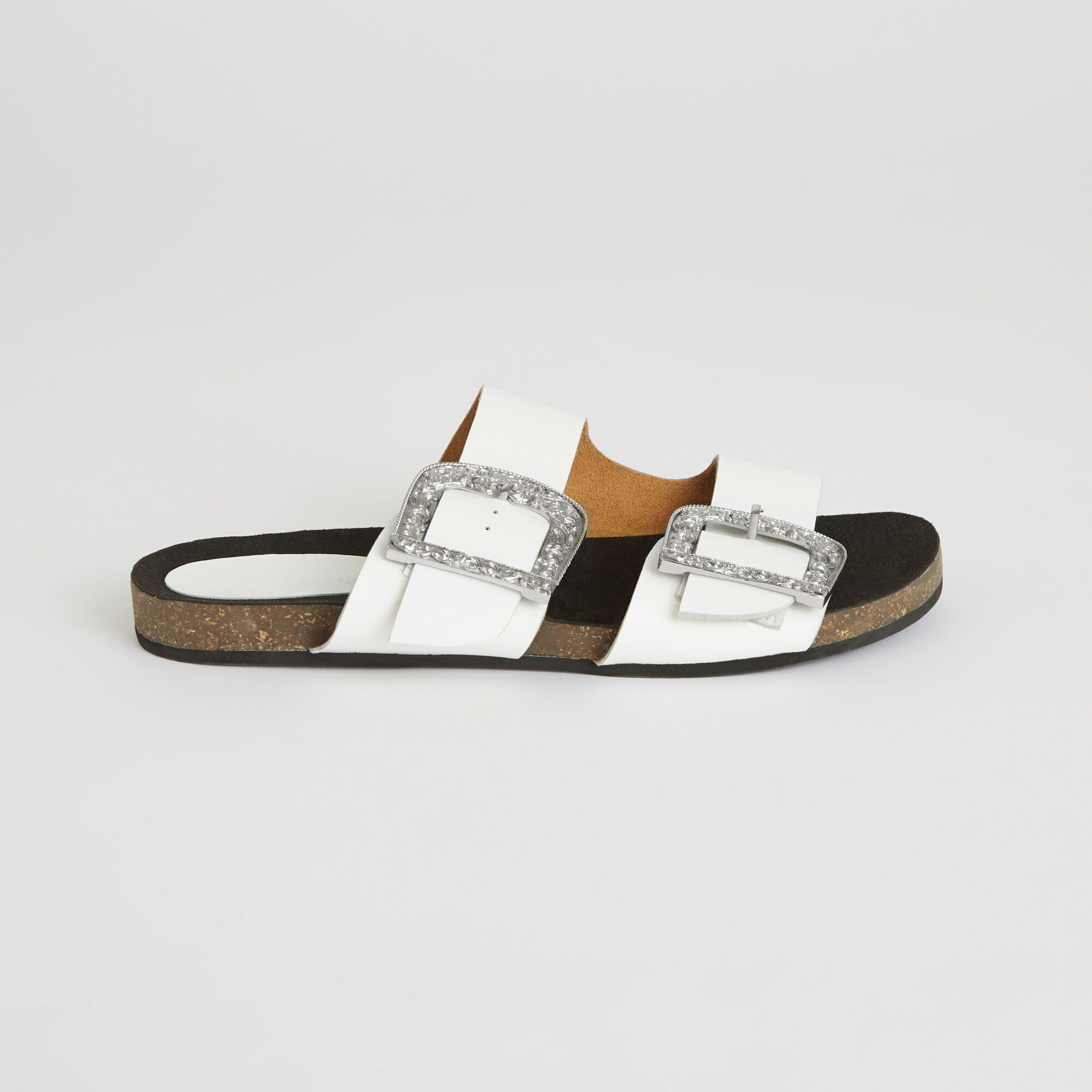WESTERN BUCKLE FOOTBED SANDALS   Warehouse
