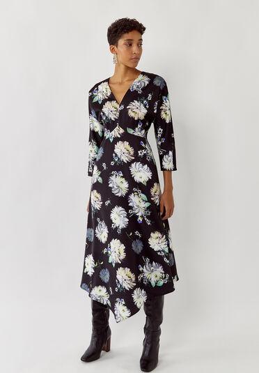 Warehouse, Floral Satin V Neck Midi Dress Multi 2