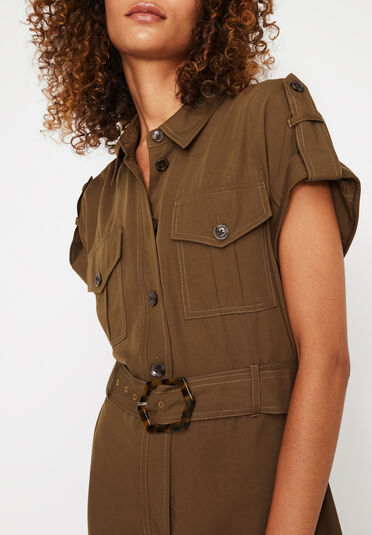 Warehouse, UTILITY JUMPSUIT Brown 2