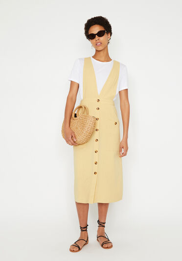 Warehouse, LINEN MIDI PINAFORE DRESS Lemon 1
