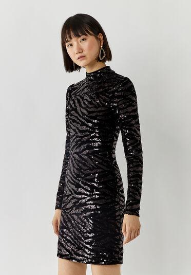 Warehouse, ZEBRA SEQUIN MINI DRESS Black 1