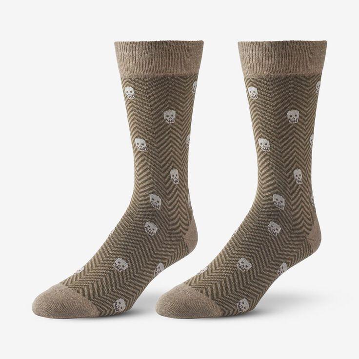 Cotton Blend Pattern Dress Sock, 1017537 Khaki Herringbone Skull, blockout