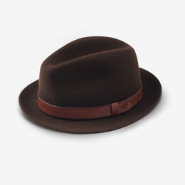Allen Street Snap Brim Wool Fedora Hat by Bailey, 1018407 Brown, blockout