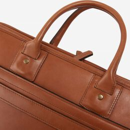 Saddle Leather Collection - Single Gusset Briefcase, 96102A Brown Leather, blockout