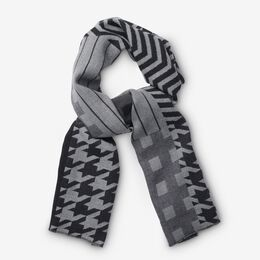 Patchwork Merino Wool Scarf, 1018481 Grey, blockout