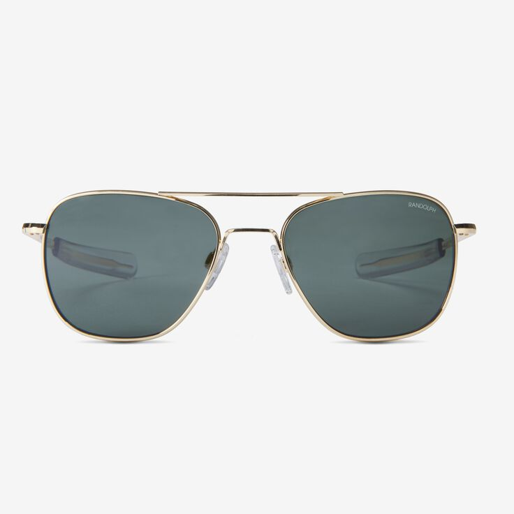 Aviator 55MM 23K Gold AGX Glass Sunglasses by Randolph Engineering, 1015125 Gold, blockout