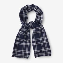 College Stripe & Plaid Reversible Jacquard Scarf, 1014897 Navy/White/Red, blockout