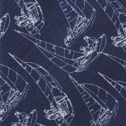 Sail Boat Print Silk Tie, 1017480 Navy, blockout