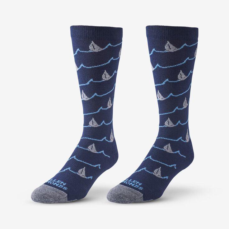 Boat Pattern Soft Touch Poly-Tencel Dress Socks, 1017615 Navy, blockout