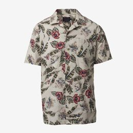 Short Sleeve Printed Aloha Shirt, 1017454 Ivory, blockout
