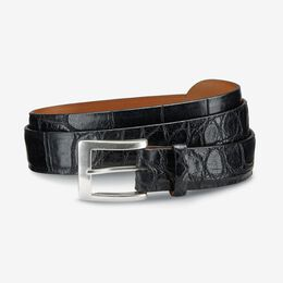 American Alligator Dress Belt, 34801 Black American Alligator Leather, blockout