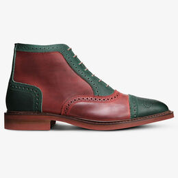 Claus Mok Wingtip Oxford Boot, 4695 Green & Red Distressed Leather, blockout