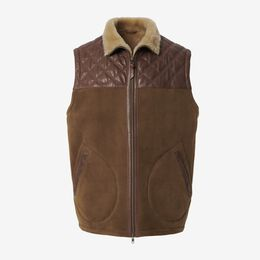 Shearling Quilted Vest, 1018372 Chestnut, blockout