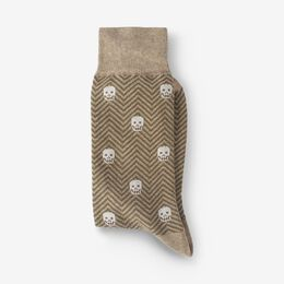Cotton Blend Pattern Dress Sock, 1017537 Khaki Herringbone Skull, blockout