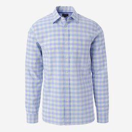 Gingham Cotton Sport Shirt, 1016546 Blue/Ivory, blockout
