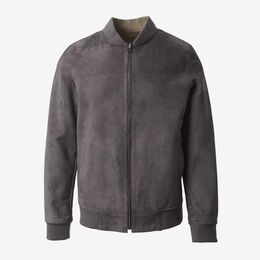 Leather and Suede Reversible Bomber, 1017841 Grey / Beige, blockout