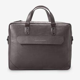 Grey Fulton Slim Leather Briefcase, 1016611 Grey, blockout