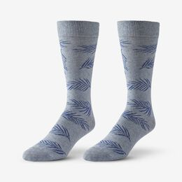 Cotton Blend Pattern Dress Sock, 1017535 Blue Palm Leaf, blockout
