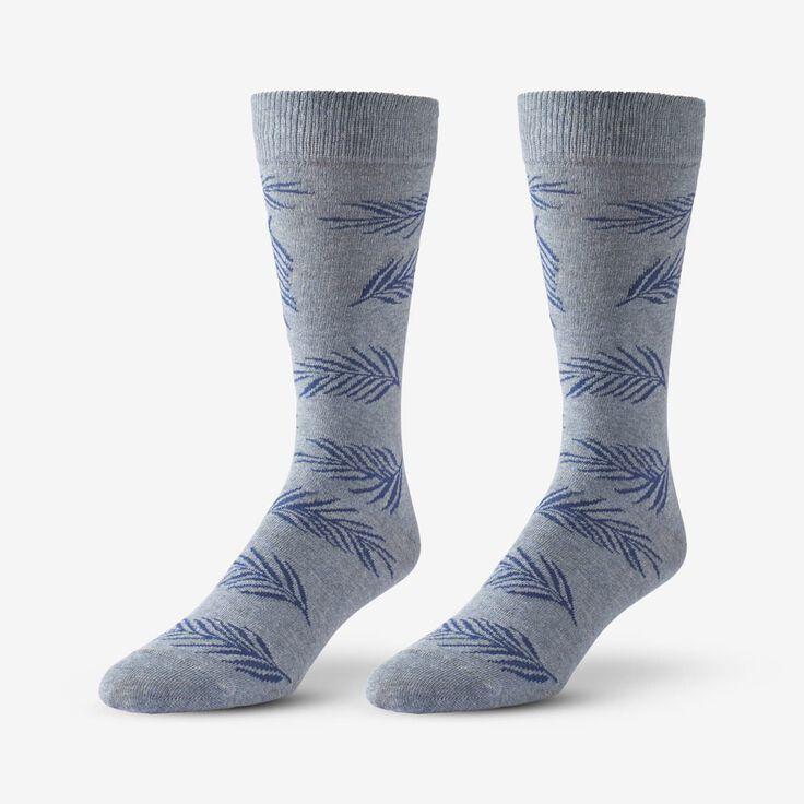 Cotton Blend Pattern Dress Sock, 1017535 Blue Palm Leaf, blockout